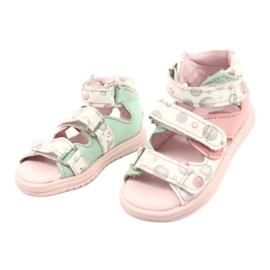 Sandale profilactice înalte Mazurek 1291 alb roz verde 1