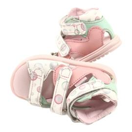 Sandale profilactice înalte Mazurek 1291 alb roz verde 4