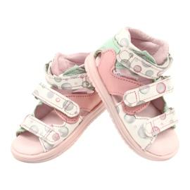 Sandale profilactice înalte Mazurek 1291 alb roz verde 2