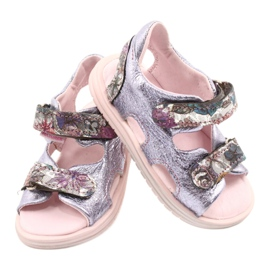 Sandale pe napi Mazurek 1314 Amethyst Pearl violet argint 2