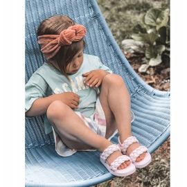 FR1 Sandale pentru copii cu cutie-plăcintă violet cu nervuri 8