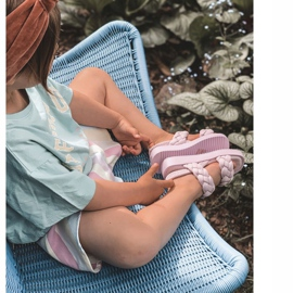 FR1 Sandale pentru copii cu cutie-plăcintă violet cu nervuri 1