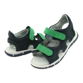 Sandale cu velcro Mazurek 314 bleumarin albastru marin verde 3
