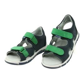 Sandale cu velcro Mazurek 314 bleumarin albastru marin verde 2
