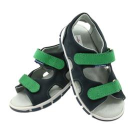 Sandale cu velcro Mazurek 314 bleumarin albastru marin verde 4