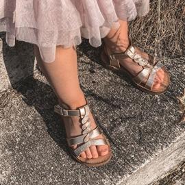 FR1 Sandale pentru copii cu brodat Golden Batilda de aur 6