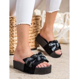 SHELOVET Papuci cu arc de moda negru 1