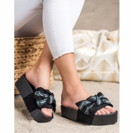 SHELOVET Papuci cu arc de moda negru 3