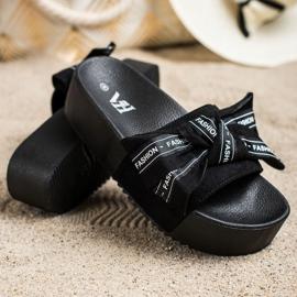 SHELOVET Papuci cu arc de moda negru 2