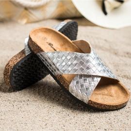 Bona Papuci comode cu piele ecologică argint 1