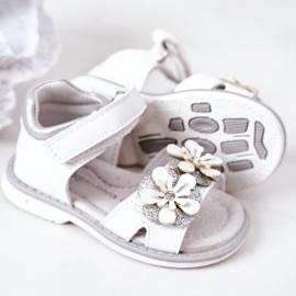 Apawwa Sandale pentru copii cu velcro alb Maysa 5