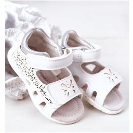 Apawwa Sandale din piele pentru copii cu velcro alb Meera 5