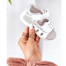Apawwa Sandale din piele pentru copii cu velcro alb Meera 4