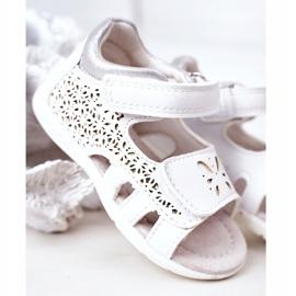 Apawwa Sandale din piele pentru copii cu velcro alb Meera 1