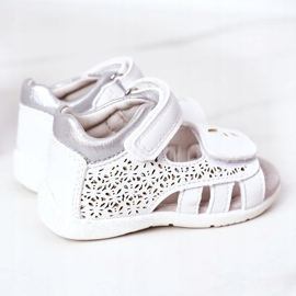 Apawwa Sandale din piele pentru copii cu velcro alb Meera 3
