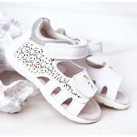 Apawwa Sandale din piele pentru copii cu velcro alb Meera 6