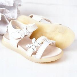 Apawwa Sandale pentru copii cu fluturi Velcro alb Malvika 3