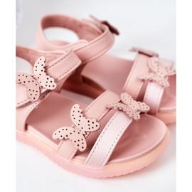 Apawwa Sandale pentru copii cu velcro fluture roz Malvika 1
