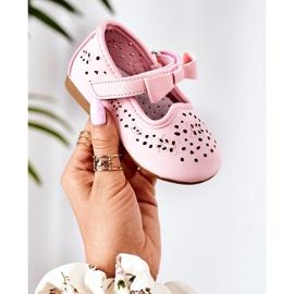 Apawwa Balerini din piele pentru copii cu velcro roz Mireia 1