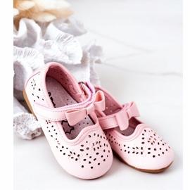Apawwa Balerini din piele pentru copii cu velcro roz Mireia 2
