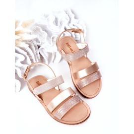 FR1 Sandale strălucitoare pentru copii Rose Gold Natalie de aur 1
