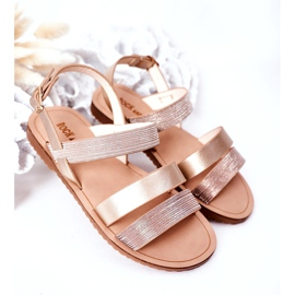 FR1 Sandale strălucitoare pentru copii Rose Gold Natalie de aur 2