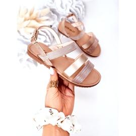 FR1 Sandale strălucitoare pentru copii Rose Gold Natalie de aur 3