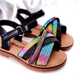 FR1 Sandale pentru copii cu paiete Black Becky negru albastru roz verde 4