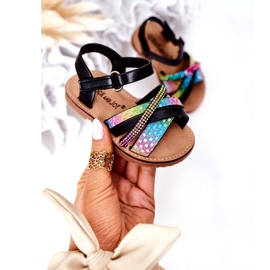 FR1 Sandale pentru copii cu paiete Black Becky negru albastru roz verde 2