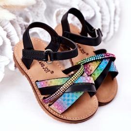 FR1 Sandale pentru copii cu paiete Black Becky negru albastru roz verde 1
