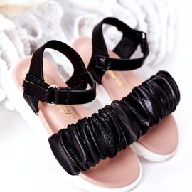 FR1 Sandale negre pentru copii, cu velcro negru 1