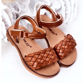 FR1 Sandale pentru copii cu cămilă împletită Bailly 283-3C maro 2