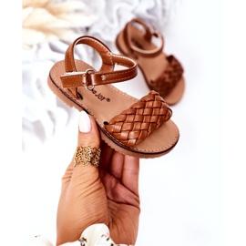 FR1 Sandale pentru copii cu cămilă împletită Bailly 283-3C maro 3