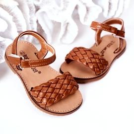 FR1 Sandale pentru copii cu cămilă împletită Bailly 283-3C maro 4