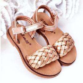 FR1 Sandale pentru copii cu împletit aur roz 283-2B Bailly de aur 2