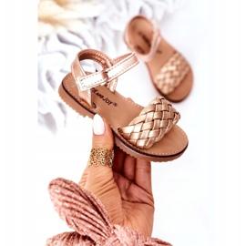 FR1 Sandale pentru copii cu împletit aur roz 283-2B Bailly de aur 3