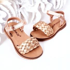 FR1 Sandale pentru copii cu împletit aur roz 283-2B Bailly de aur 4