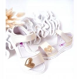PE1 Sandale pentru copii cu velcro auriu dragă de aur 4