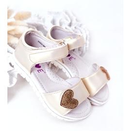 PE1 Sandale pentru copii cu velcro auriu dragă de aur 3
