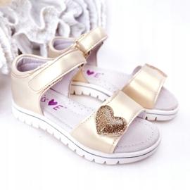 PE1 Sandale pentru copii cu velcro auriu dragă de aur 2